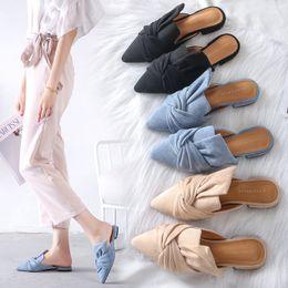корейская плоская обувь Скидка Korean style flats single shoes big bow velvet sandals ladies closed pointed toe mules slippers women big size 40 41 flip flops