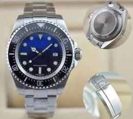 Cierre de relojes online-Lujo SEA-DWELLER D-blue Bisel de cerámica Zafiro Hombres 44mm diseñador Reloj para hombre moda Movimiento automático Mecánico Glide Lock Broche btime