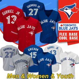 Baseball jerseys toronto online-Toronto Vladimir Vlad Guerrero Jr. Blue Jays Jersey 13 Lourdes Gurriel Jr. Brandon Drury Randal Grichuk Bo Bichette Baseball-Shirts