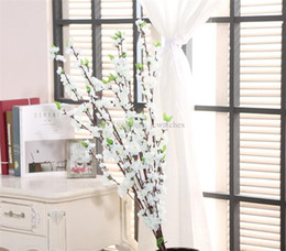 Bouquet di nozze di pesca online-Nuovo 1 PZ 125 CM Artificiale Cherry Spring Plum Peach Blossom Branch Seta Fiore Albero Decor Casa Wedding Bouquet Decorativo A28