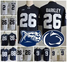 2018 Penn State Nittany Lions 26 Saquon Barkley 9 Trace McSorley 2 Marcus  Allen 88 Mike Gesicki Navy Blue White Stitched NCAA College Jersey discount  ... a9a2652f3