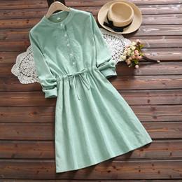 2019 vestido verde fresco Mori Menina Outono Inverno Mulheres Doce Fresco Vestido Rosa Verde Floral Bordado Lace Up Vestido de Veludo Do Vintage Elegante Kawaii vestido verde fresco barato