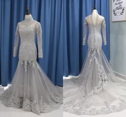 vestido de noiva de sereia de lantejoulas de strass Desconto Strass de luxo de Alta Neck Vestidos de Noiva Ilusão de Sereia Manga Comprida Lace Applique Contas De Cristal Lantejoulas Oco de Volta vestido de Vestido de Casamento