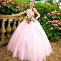 sky blue dresses for quinceanera Promo Codes - 2019 Pink Ball Gown Quinceanera Dresses Sweetheart Crystal Beaded Prom Dress for Sweet 16 vestidos de 18 anos Plus Size Evening Party Wear