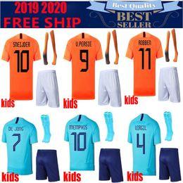 Camisa alaranjada dos meninos on-line-Liga das Nações kids kits 18 19 Holanda jersey Holland Orange Camisola de Futebol DE VRIJ VIRGIL Camisola  STROOTMAN MEMPHIS Camisolas de Futebol