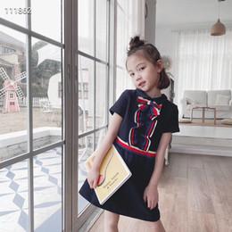 Nuevo llegan los niños vestido de polo de la manera de la muchacha del arco del verano del vestido de partido muchacha de la falda del algodón del bebé desde fabricantes