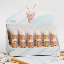 Wholesale 24 Gel Stylos Crème glacée oreilles de lapin noir cadeau de stylo gel encre de couleur stylos pour l écriture de fournitures de bureau mignon papeterie