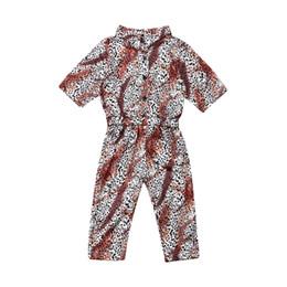 Pantaloni di tuta di leopardo online-3-7Years Kid Child Girl Leopard Pagliaccetto Tuta Tuta Abbigliamento Outfit Tuta intera