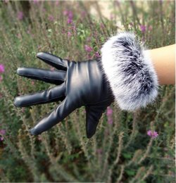 leather hair gloves Promo Codes - Fashion-Hot Womens winter real Rabbit hair pu leather gloves Thick lining Fashion Warm Gloves 5 Colors for choices
