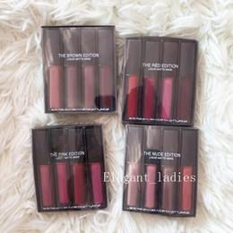 2019 romantischer bär lange anhaltende lippenfarbe Neue Make-up Liquid Lipstick Kit Die Red Nude Brown Pink Edition 4 Stück Schöne Farben = 1 Satz Mini Liquid Matte Lipstick