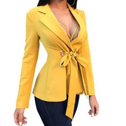 Macacões de escritório on-line-Mulheres Escritório Blazers Nova Moda OL Ternos de Negócio Outfit Arco Tops Fino Feminino Cardigan Outwear Workwear Amarelo Geral M0510