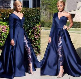 2019 vestido de una pieza para la imagen Modest Blue Jumpsuits Vestidos de fiesta de dos piezas Un hombro Hombro delantero Corte de costillas Vestido de noche Vestido de noche vestido de una pieza para la imagen baratos