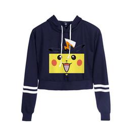 camisolas meninas sexy Desconto Anime Ir Pulôver Sexy Umbigo Mulheres Hoodies Sexy Cintura Alta Camisola Detetive Pikachu Colheita Tops Menina