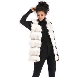 Chalecos de invierno blanco para mujer online-Winter2019 capa de felpa de imitación de la piel del chaleco The Loose Capa Caliente para mujer chalecos invierno Prendas de abrigo largo blanco del chaleco