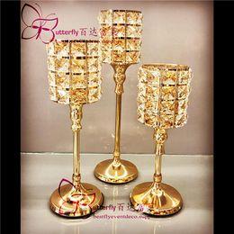 Porta candela cilindro in cristallo online-Centrotavola da tavolo portacandele in titanio con supporto in cristallo per candele da tavolo in metallo cristallo 3 pezzi