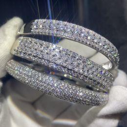 Canada Étincelant Nouvelle Arrivée Bijoux De Luxe 925 En Argent Sterling Remplir Pavé Blanc Saphir CZ Diamant Femmes De Mariage Bracelet Bracelet Bracelet Cadeau cheap imitation sapphire jewelry Offre