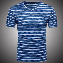 2019 t-shirts de bronzeamento para homens Listra T-shirt 2019 Homens Casual Hip Hop Tee Tops de Manga Curta tshirt para a Roupa Masculina Azul Marrom Listras Camisetas de Verão WY210 t-shirts de bronzeamento para homens barato