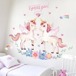 2019 adesivo de parede de unicórnio 1pc 90 * 120 centímetros Crianças Sonho adesivo de parede unicórnio crianças vivendo quarto quarto de banda desenhada quente decoração de casa adesivos de parede decoração Wallpaper adesivo de parede de unicórnio barato
