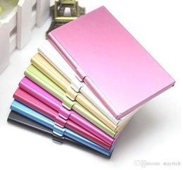 desenhos de mesa para casamentos Desconto 100PCS Negócios Nome Credit Card Case ID Titular de alumínio cartão de visita titular do cartão Arquivos de alumínio de prata da cor