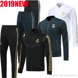 2020 New Real Madrid спортивный тренировочный костюм с полным комплектом спортивного костюма на молнии. cheap train pants от Поставщики штаны для поездов