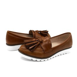 3b44fa990 2019 New Retro fringe loafers shoes Non-slip Round Head Flats Shallow Mouth  Platform Loafers Peas Boat Shoes chaussures femme