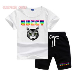 girl kids t shirt design Coupons - GVCH Little Kids Sets 1-7T Kids T-shirt And Short Pants 2Pcs sets Baby Boys Girls 95% Cotton Pattern Design Printing Style Summer Sets lw01