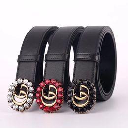 Clásico de la hebilla de diseño online-Nueva marca de moda para mujer cinturón de color retro cristalino grande hebilla de cinturón diseño clásico cinturón de cuero cinturones ancho 3.4 cm