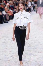 2019 T-shirt décontracté à manches courtes pour femmes en mousseline de soie blanche à revers ? partir de fabricateur