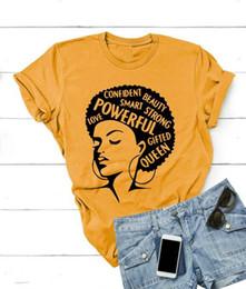 2019 mädchen-power-t-shirt Afro Lady Shirt Frauen feministisches T-Shirt Girl Power T-Shirt Sommermode Kurzarm T-Shirt Inspirierende Worte Buchstaben Druck Baumwolle günstig mädchen-power-t-shirt