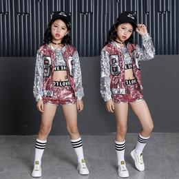 Блеск серебряный танец онлайн-Тэмми Ада дети девочка блесток танцы розовый серебряный куртка пальто обрезать топ шорты 3шт наборы хип-хоп джаз танец одежда детские наборы
