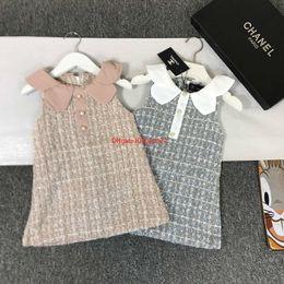 Kind mädchen gewebt kleider online-Mädchen Kleid Kinder Designer Kleidung Mode klassische Weste Rock grob gewebte Wolle mit einem Kleid Kleider dreidimensionale Version