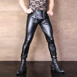 lencería gay sexy Rebajas Los hombres atractivos más el tamaño de U convexa bolsa abierta entrepierna pantalones del lápiz de la PU de cuero de imitación punk pantalones del desgaste de los pantalones apretados de la ropa interior erótica Gay