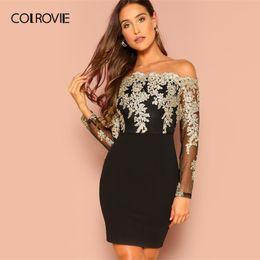 COLROVIE Noir Sur L'épaule Maille Corsage Bardot Robe De Fête Femmes 2019 Printemps À Manches Longues Zipper Robe Élégante ? partir de fabricateur