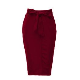 Faldas de las mujeres Vino Rojo Color Sólido Lápiz Falda Verano Otoño Faldas Casual Moda Más Tamaño Faldas Mujer Jupe desde fabricantes