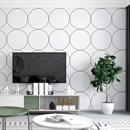 Telón de fondo de tv online-Papel pintado geométrico moderno arte simple celosía redonda estilo ins PVC decoración del hogar papel tapiz de fondo TV sofá dormitorio pared telón de fondo