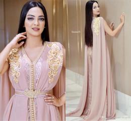 2020 vestido longo muçulmano rosa 2020 frisada muçulmana Longo Prom Vestidos Blush rosa Luxo Dubai marroquina Kaftan Vestido Chiffon V Neck vestido formal Vestidos partido vestido longo muçulmano rosa barato