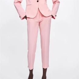 pantalon rose élégant Promotion Les femmes de style élégant pantalon de base rose fermeture à glissière conception poches bureau dame pantalon chic femme casual élégant pantalones 2064