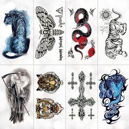 tatuajes femeninos de la muñeca Rebajas 3d tatuaje temporal animal azul tigre serpiente polilla para niño niña niños etiqueta engomada del tatuaje niños acuarela Tatto brazo arte