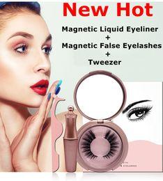maquiagem magnética Desconto 3D Mink Cílios Magnético Delineador Líquido com Pinça Set Magnética Pestana Falso Extensão Dos Cílios À Prova D 'Água Mink Lashes Maquiagem Maquiagem