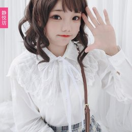 888ef1e42f34c6 Japanese Sweetness White Lace Embroidery Shirt Women Ruffle Blouse Women  Clothing Peter Pan Collar Preppy Style White Woman Top