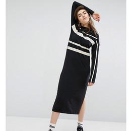 sexy vestidos de talla mediana más largos Rebajas Vestidos largos de diseñador para mujer Marca de moda de lujo Vestidos de manga larga dividida Mujeres breves Nuevo Otoño Streetwear Color negro