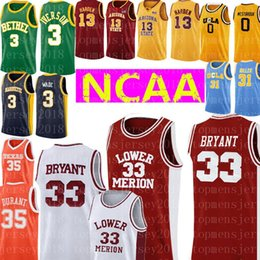 2019 kobe ​​bas hauts top Lower Merion College 33 Kobe Bryant Jersey Broderie Hommes Rouge Blanc Basketball Maillots pas cher en gros 35 Kevin Durant Jersey kobe ​​bas hauts pas cher