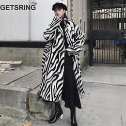 Argentina GETSRING Abrigos para mujer Abrigo de cebra Abrigo de lana engrosada Manga larga con cordones Abrigo largo para mujer Chaqueta de invierno larga a juego cheap woolen ladies jackets Suministro