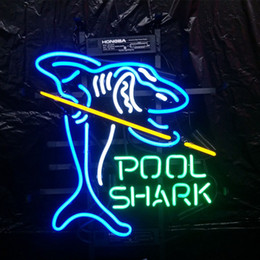 beste neon bar leuchten Rabatt POOL SHARK Leuchtreklame Bar Urlaub Display Werbung Dekoration Wand Echtglas Licht Metallrahmen Größe 17 '' 20 '' 24 '' 30 ''