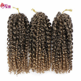 bugs hair extensions Coupons - Malibob Crochet Hair 8inch Kinky Curly Crochet Braids Synthetic Marlibob Braids Hair Extension Marlybob Bug 3pcs Lot Marley Braid Kanekalon