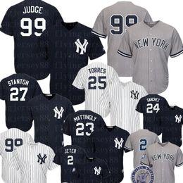 Nova Iorque Yankees baratos 99 Aaron Juiz Jersey 25 Gleyber Torres 2 Derek Jeter 27 Giancarlo Stanton 24 Gary Sanchez Babe Ruth Beisebol cheap giancarlo stanton de Fornecedores de giancarlo stanton