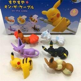 Juegos de juguetes de pokemon online-Figuras originales 6 piezas / juego en el cable o la taza de té pkchu anime figuras de juguete de juguete modelo juguete Decoración del coche juguete pokemones