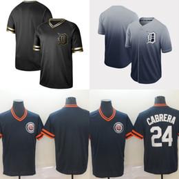 Jersey de beisbol negro barato online-Mens Detroit Jersey 24 Miguel Cabrera Negro Oro 100% cosido Miguel Cabrera Tigers Jerseys de béisbol Envío rápido y barato
