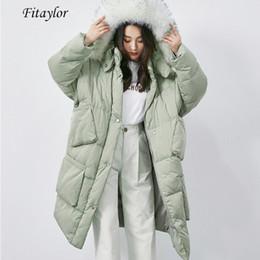 2019 лисий мех с капюшоном парка Fitaylor Winter Women Large Real  Fur Collar Hooded White Duck Down Parkas Big Pocket Removable Hat Long Jacket Loose Outwear дешево лисий мех с капюшоном парка