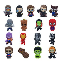 2019 borse a bottone MOQ = 25 PZ Avengers 3 Infinity War PVC Figura Icona Pin Spilla Distintivo Carino Pin Button Badge Pinback School Bag Cap Cap Decorazione come regalo borse a bottone economici